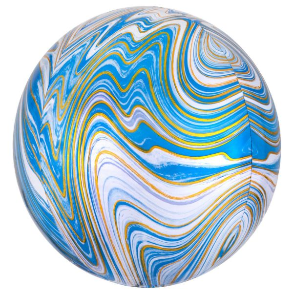 Blue Marblez Round Orbz 15in Balloon